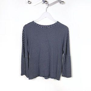 Topshop Black White Stripe Bell Sleeve Long Sleeve